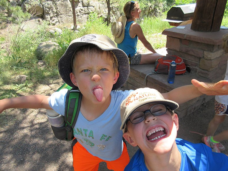 Two Thorne campers make silly faces while enjoying their time at summer camp